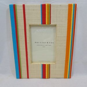 POTTERY BARN Canvas Striped Embroidered Picture